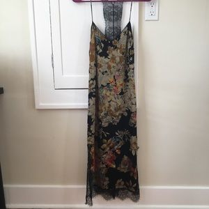 Zara Silk Slip dress long lace floral satin maxi